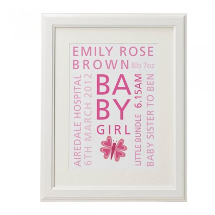 Personalised baby words christening print