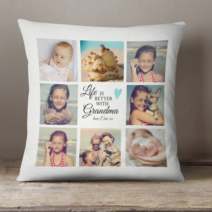 Personalised Grandma gift, Photo collage cushion