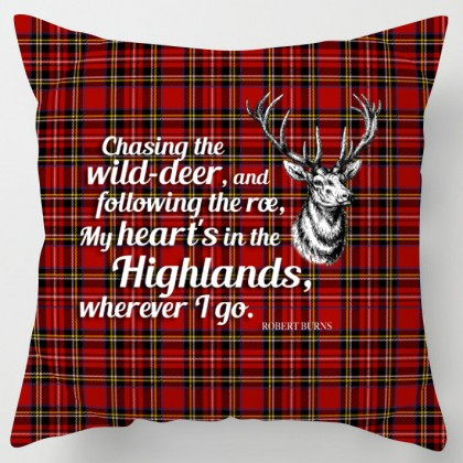 My heart is in the Highlands, Burns poem tartan scottish cushion