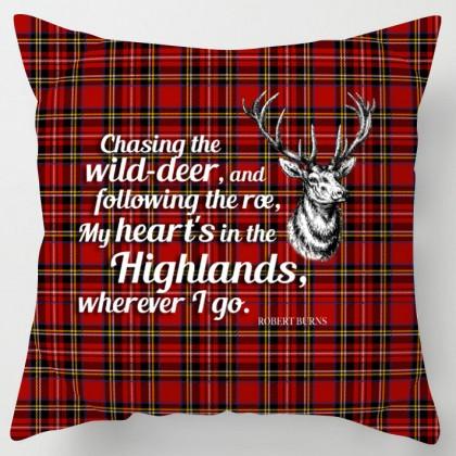 My heart is in the Highlands, Burns poem tartan scottish cushion