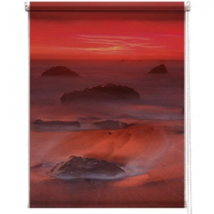 Red seascape printed blind