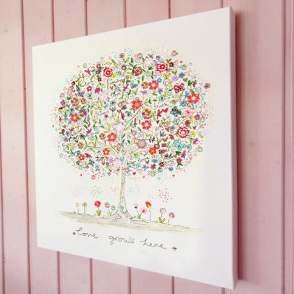Love grows here illustration canvas print