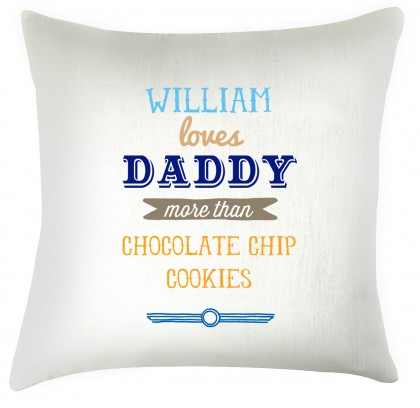 Loves Daddy, personalised cushion