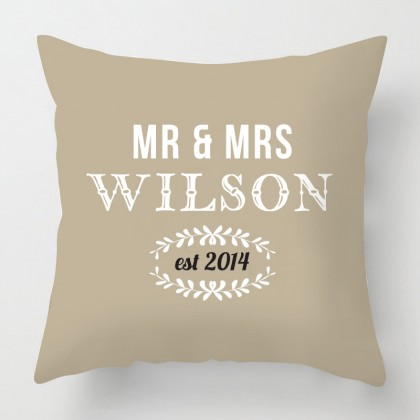 Mr & Mrs personalised wedding cushion