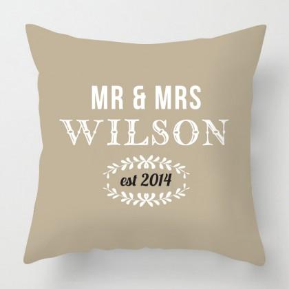 Mr & Mrs personalised wedding cushion