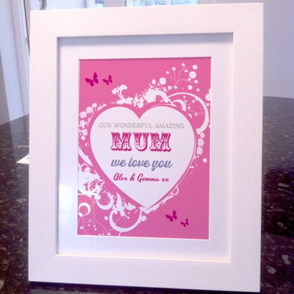 Mothers Day wonderful mum personalised art print