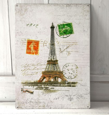 Paris France Eiffel Tower Vintage Sign