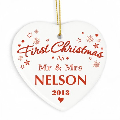 'First Christmas' personalised Ceramic Heart Decoration
