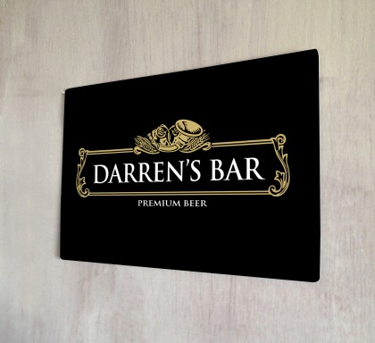 Personalised Gold Beer Label Sign