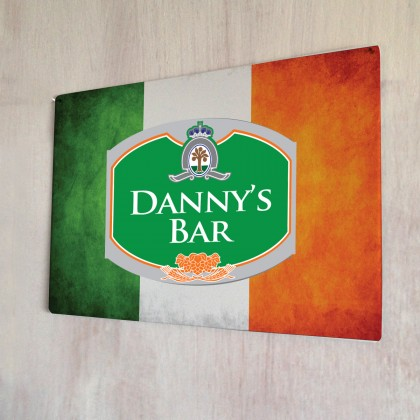 Personalised Beer Label Irish Flag Sign