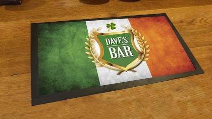 Personalised Irish flag Shamrock bar runner mat