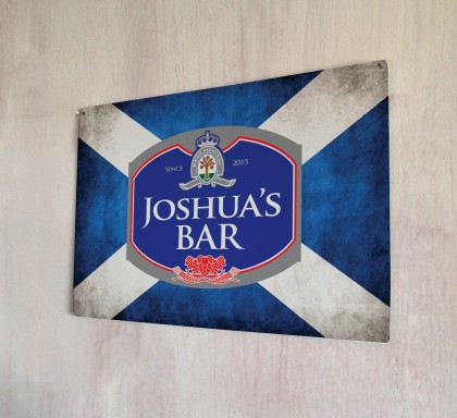 Personalised Beer Label Scottish Flag Sign