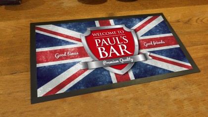 Personalised Union Jack flag chrome shield bar runner