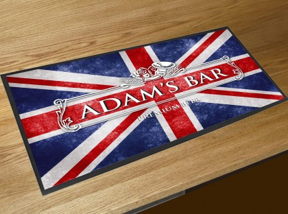 Personalised Union Jack bar runner mat
