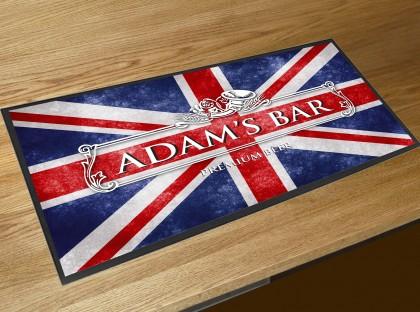 Personalised Union Jack bar runner mat