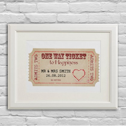 Personalised Wedding ticket gift art print