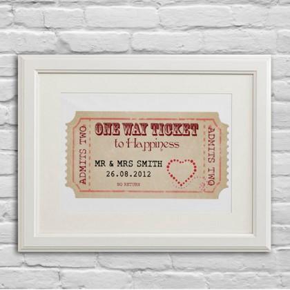 Personalised Wedding ticket gift art print