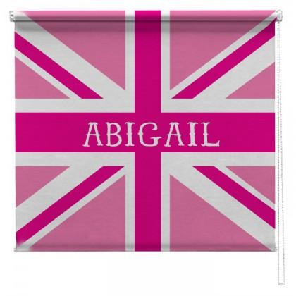 Pink personalised union jack printed blind