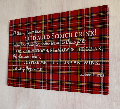 Scotch Drink Burns poem quote metal sign