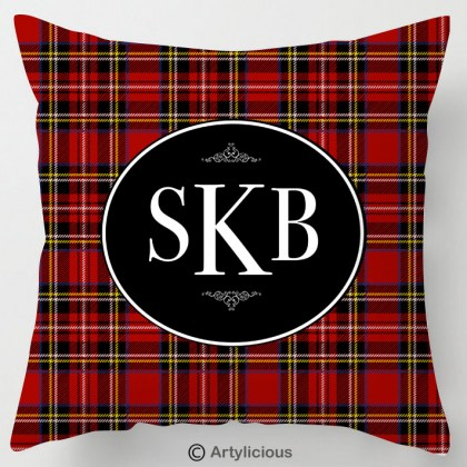 Personalised Monogram red Tartan cushion