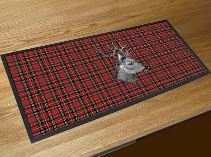 Red Tartan Stag bar runner mat