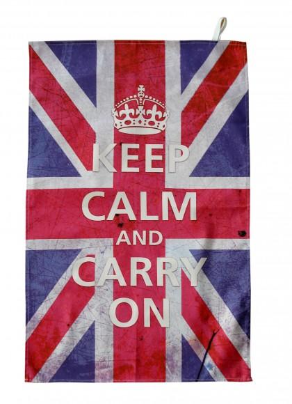 Keep Calm and carry on union jack tea towel