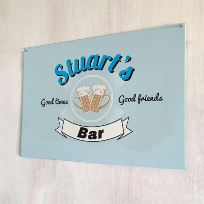 Personalised vintage 'good friends' bar metal sign