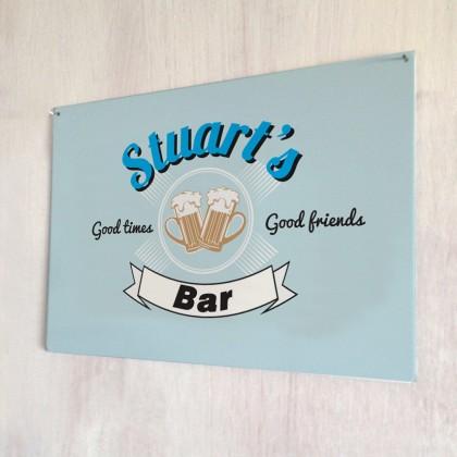Personalised vintage 'good friends' bar metal sign