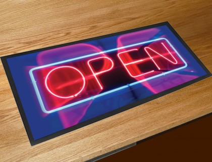 Neon open sign bar runner