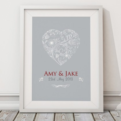 Personalised wedding heart print / canvas