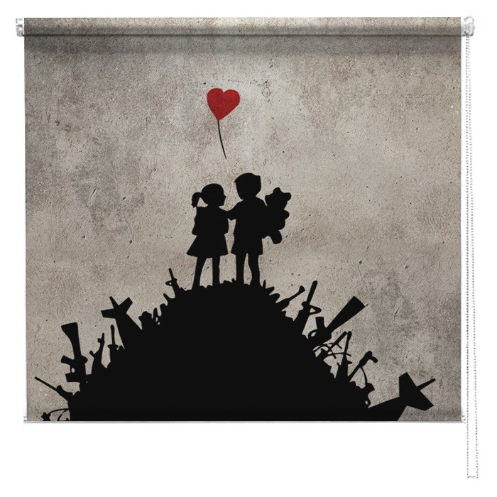 Banksy Printed Blind War Children Picture Printed Blinds