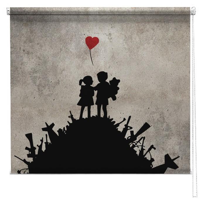 Banksy Printed Blind War Children Picture Printed Blinds