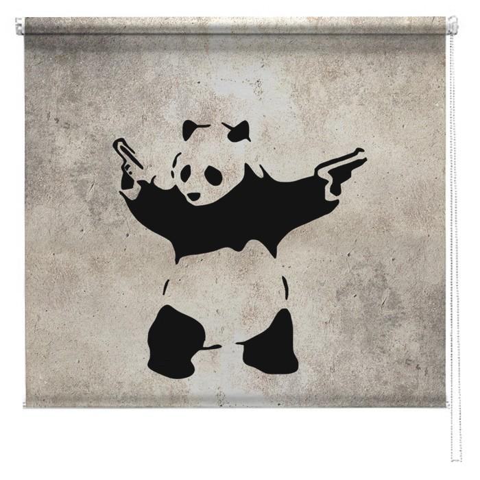 Banksy Panda Graffiti Printed Roller Blind