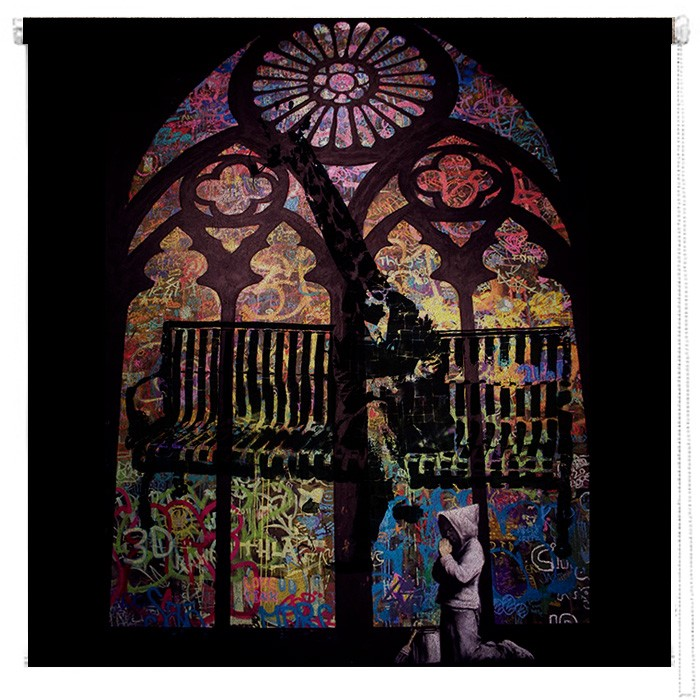 Banksy Stained Glass Window Printed Blind Picture