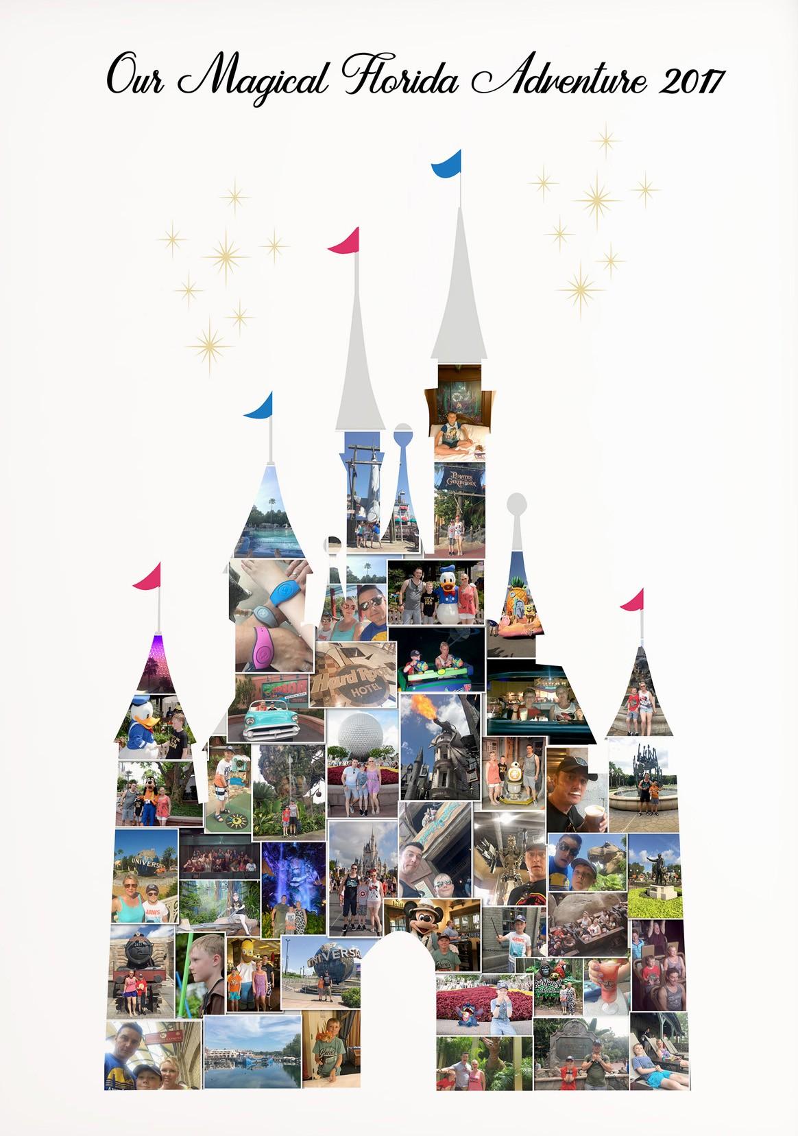 Disney Castle Photo Memory Collage Print