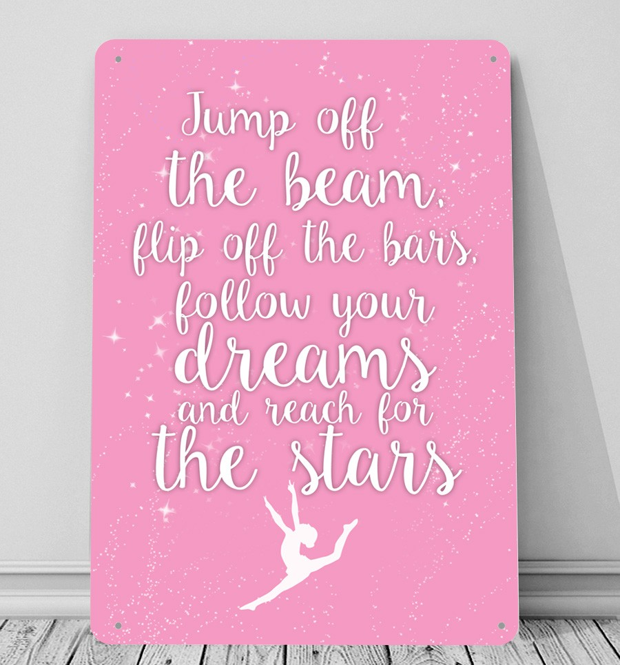 Gymnastic Quote Nadia Comaneci Jump Off The Bars Sign And