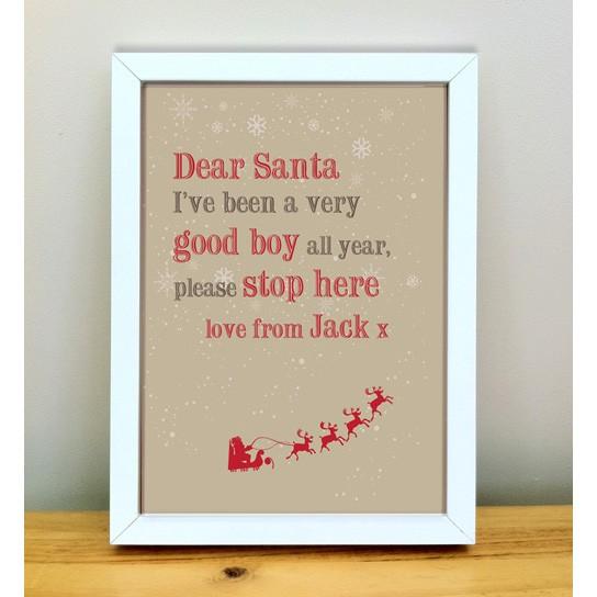 Dear Santa Personalised Christmas Art Print