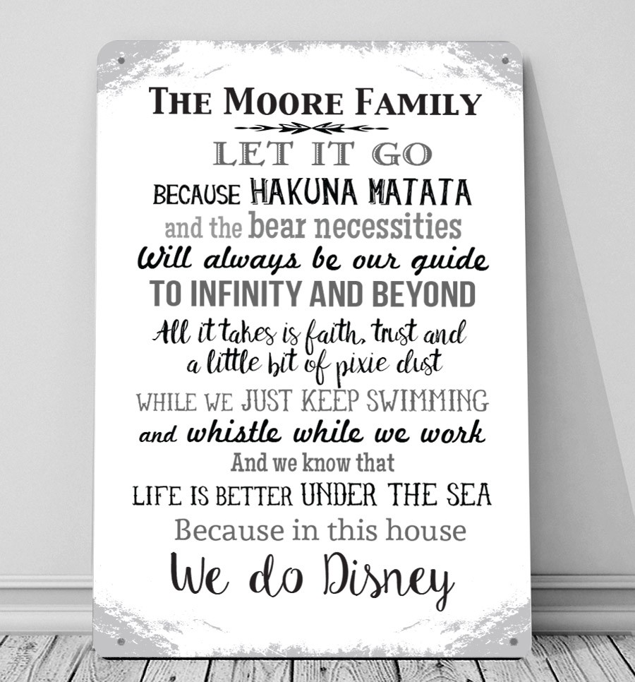 In This House We Do Disney Personalised Metal Sign