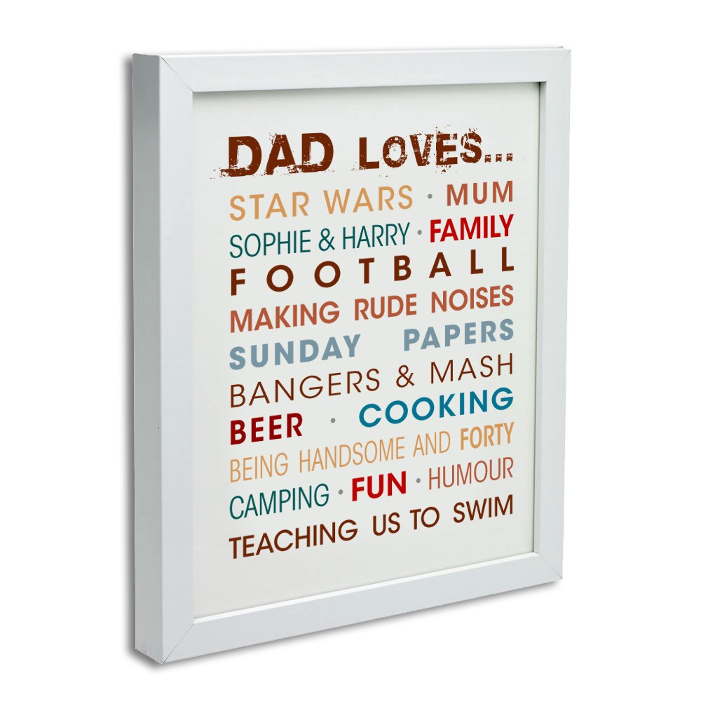 personalised words typography canvas art print