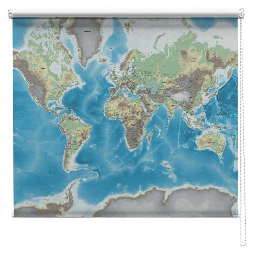 Physical World Map Printed Blind Picture Printed Blinds