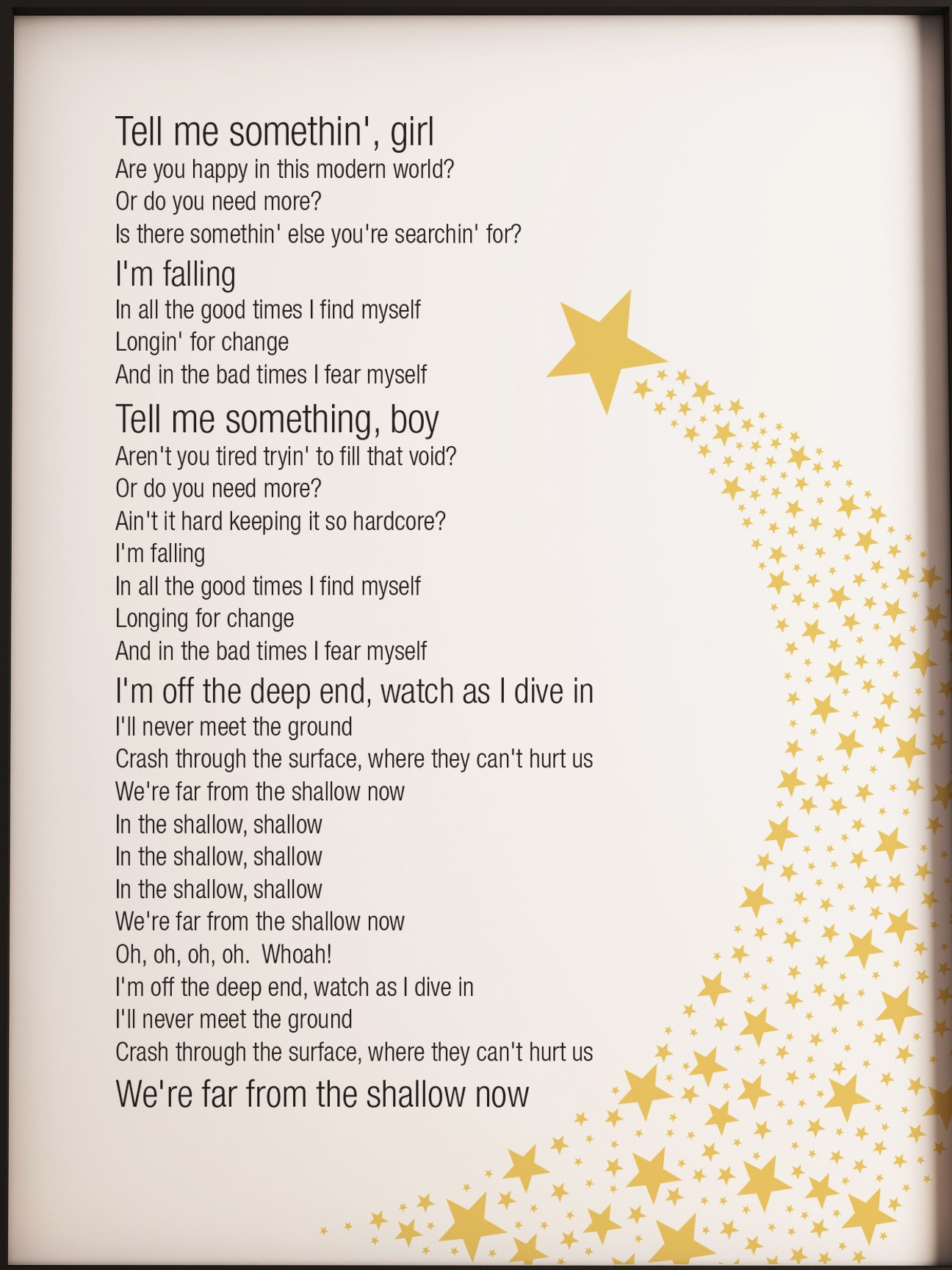 A Star is Born Shallow Lady Gaga song lyrics A4 Metal sign wall art