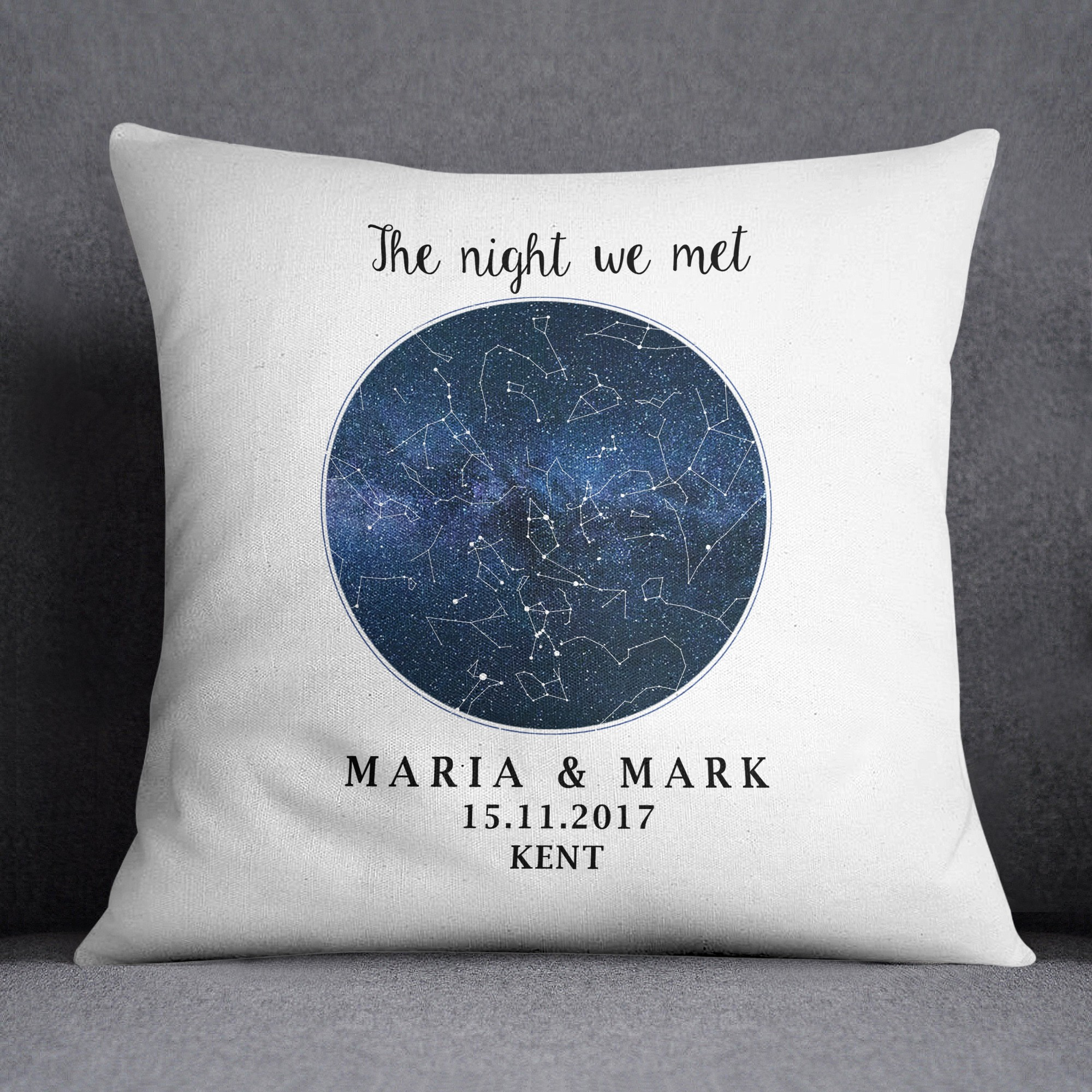 Birthday Star Map.Custom Star Map Cushion Night Sky Star Map Wedding Gift