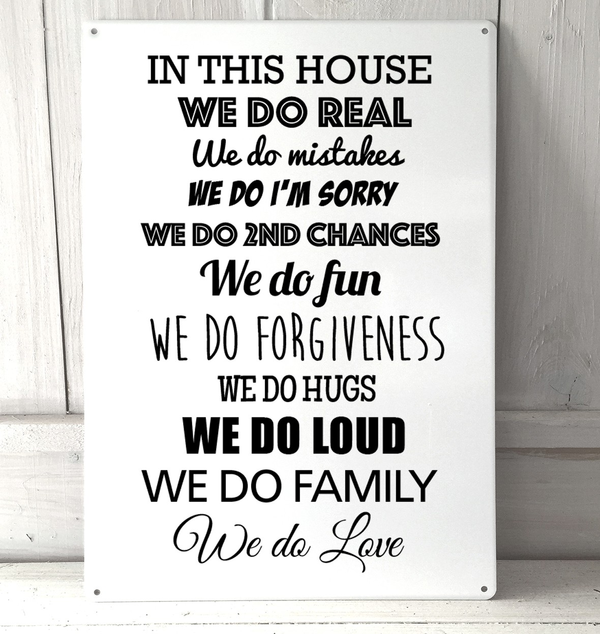 Love Plaques Quotes In This House We Do Real Quote Metal Sign
