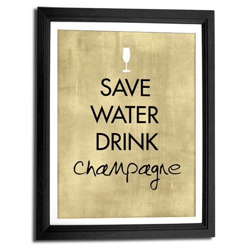 Save Water Drink Champagne Canvas Art Print
