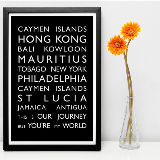 Personalised typography word art prints personalised destination bus blind canvas personalised bespoke word gumiabroncs Gallery
