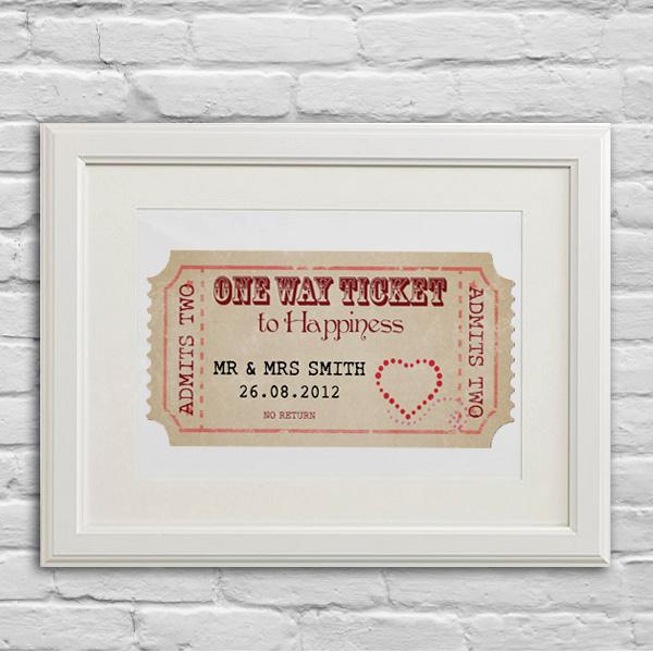 Personalised Wedding ticket print