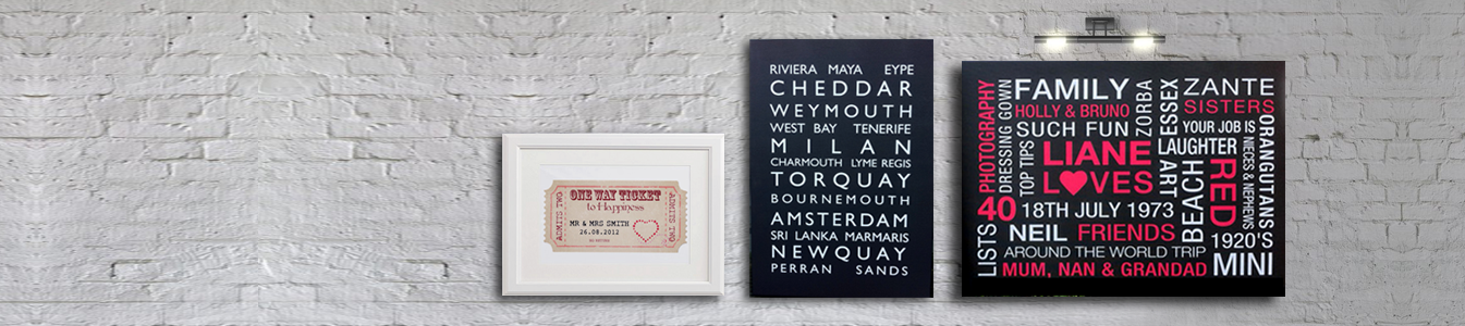 personalised words typography prints